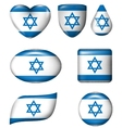 Israel flag in various shape glossy button vector image vector image