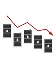 Oil Prices Down Black Barrels and Graph Drop vector image