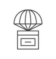 parcel box with parachute delivery concept line vector image vector image