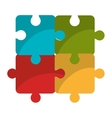 Puzzle piece isolated flat icon vector image vector image