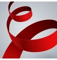 Red fabric curved ribbon on grey background vector image