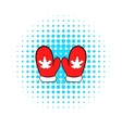 Red mittens with a maple leaf icon vector image vector image
