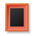 Red wooden frame with gold patterns vector image vector image