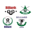 Retro emblems for billiards with cues and balls vector image vector image