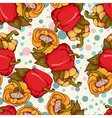 seamless pattern with bulgarian peppers vector image vector image