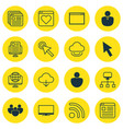 set of 16 online connection icons includes vector image vector image