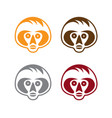 set simple monkey faces vector image vector image
