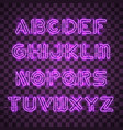 shining and glowing purple neon alphabet and vector image