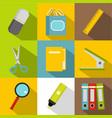 stationery symbols icon set flat style vector image vector image