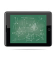 tablet computer with mathematics vector image vector image