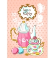 Tea and sweets top view vector image vector image