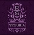 tequila label design template patterned vintage vector image vector image