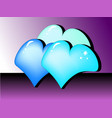 three colored hearts vector image vector image