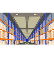 warehouse interior with boxes on rack perspective vector image vector image