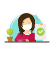 woman person wear medical face mask sitting vector image vector image