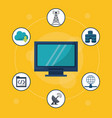 Yellow background with desktop computer in closeup vector image