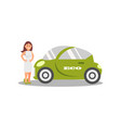young woman standing next green electric car eco vector image vector image