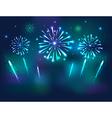 Set of Festive Fireworks on the blue Background vector image