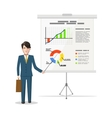 Businessman standing near whiteboard and pointing vector image