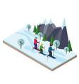 isometric happy family skiing cross country vector image