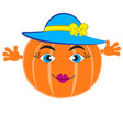 a feminine pumpkin in a blue hat vector image