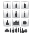 alcoholic drinks icon square gray set vector image