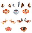 animal face masks for social networks selfie vector image