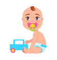 baby with soother and toy car vector image vector image