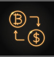 bitcoin exchange concept icon in neon style vector image