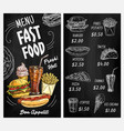 blackboard menu with chalk sketches fast food vector image vector image