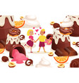 chocolate desserts bright vector image vector image