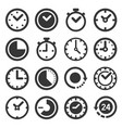 clocks icons set on white background vector image vector image