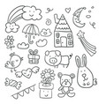 collection of cute childrens drawings of kids vector image vector image