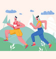 couple jogging in city park or forest vector image