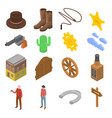 cowboy icons set isometric style vector image vector image
