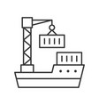 crane move container to ship line icon delivery vector image