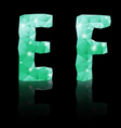 Emerald green polygonal font vector image