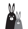 family of rabbits in the scandinavian style vector image vector image