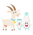 Farm goat and milk bottle characters with smiling vector image