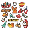 Fashion Girls Badges Patches Stickers - Clothes vector image vector image