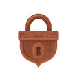 flat icon of hanging mechanical lock brown vector image vector image