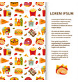 flat poster or banner template with fastfood icons vector image vector image