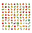 Food Fruit and vegetables Set of colored icons vector image vector image