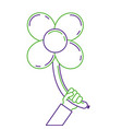 hand holding balloons shaped flower petals vector image