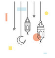 hanging arabic traditional lantern lamp ramadan vector image