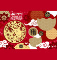 happy chinese new year gold pig festive poster vector image vector image
