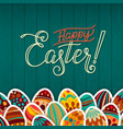 happy easter greeting card dark green wooden vector image vector image