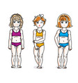 happy little girls posing in colorful bikini set vector image