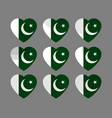 hearts with the pakistan flag i love vector image vector image