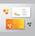 hive abstract logo and business card vector image
